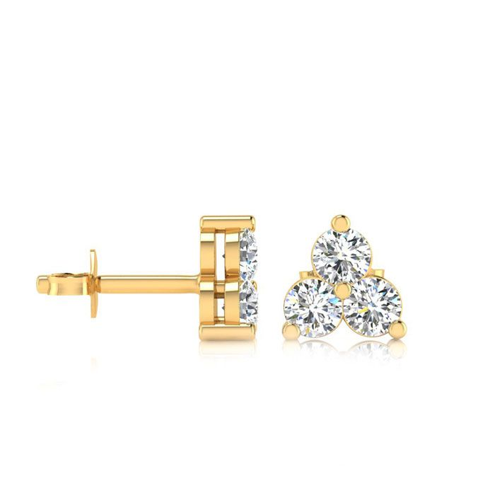 1ct Three Diamond Triangle Stud Earrings In 14K Yellow Gold