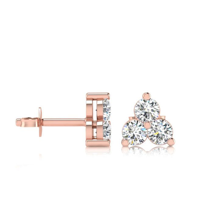 1ct Three Diamond Triangle Stud Earrings In 14K Rose Gold