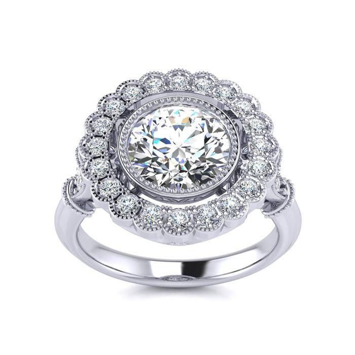 1.5 Carat Vintage Diamond Engagement Ring in 14K White Gold (5.3 g) (