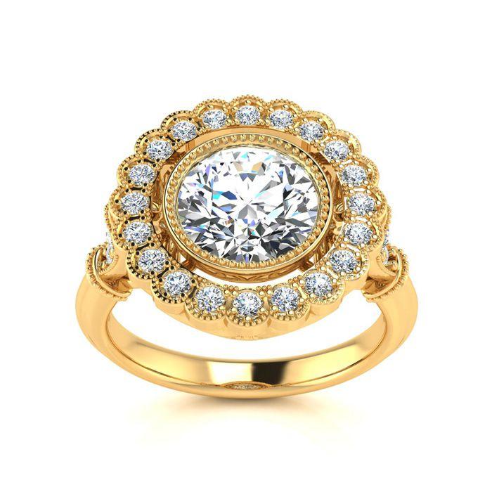 1.5 Carat Vintage Diamond Engagement Ring in 14K Yellow Gold (5.3 g) (
