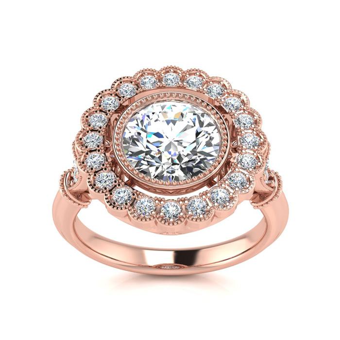 1.5 Carat Vintage Diamond Engagement Ring in 14K Rose Gold (5.3 g) (