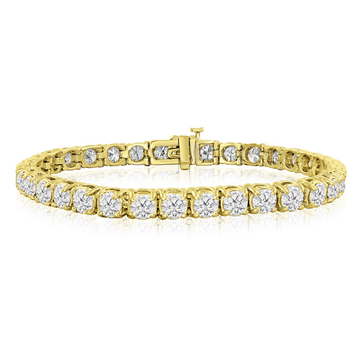 Image of 6 Inch 14K Yellow Gold 9 1/2 Carat TDW Round Diamond Tennis Bracelet (J-K, I2-I3)