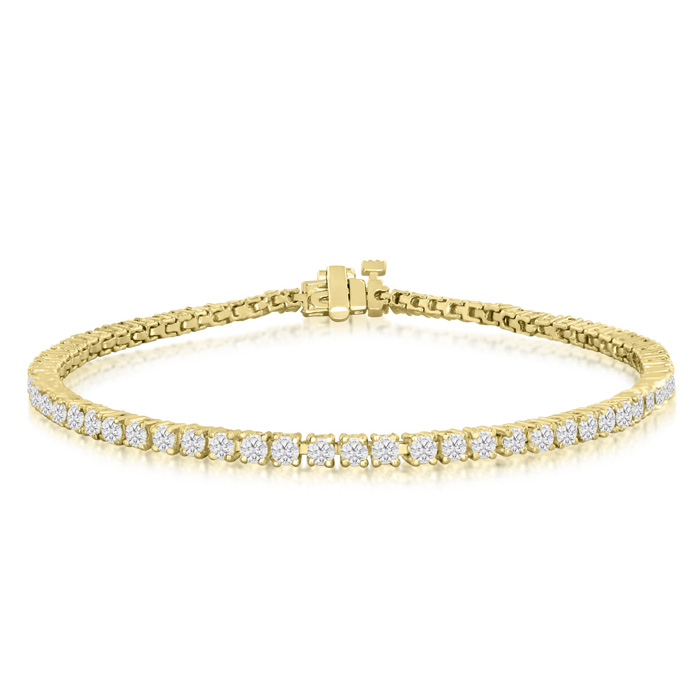 Image of 7 Inch 10K Yellow Gold 3 Carat Diamond Tennis Bracelet