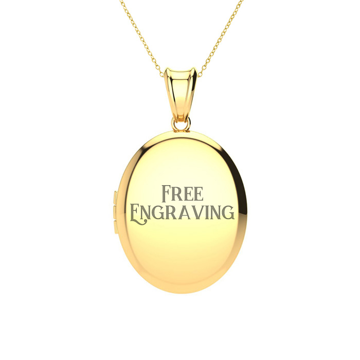 14K Yellow Gold Medium Oval Locket With Free Custom Engraving, 18 Inches, Ca..