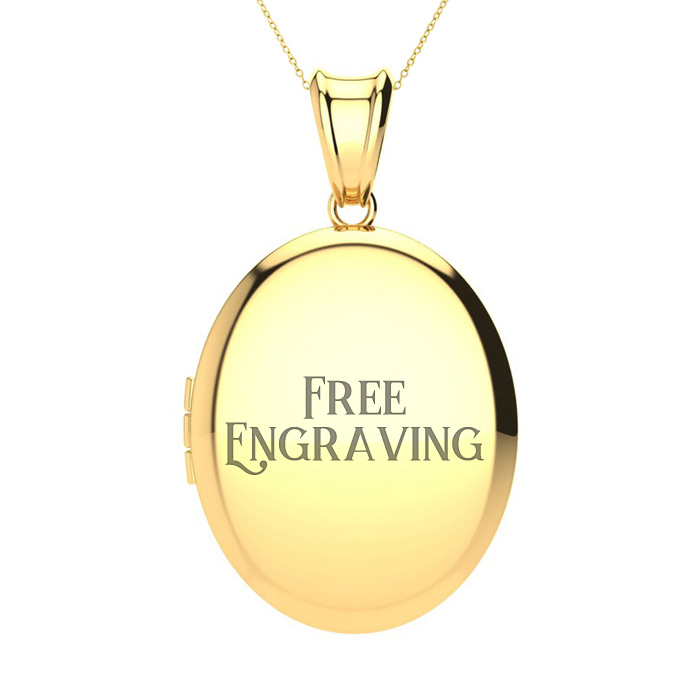14K Yellow Gold Large Oval Locket With Free Custom Engraving, 18 Inches, Can..
