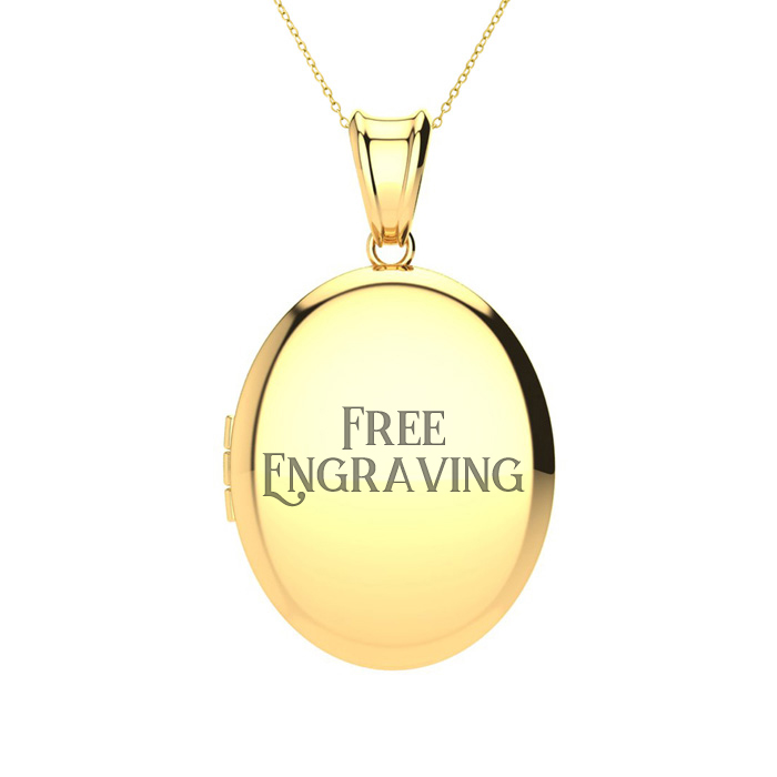 14K Yellow Gold Medium Oval Double Locket With Free Custom Engraving, 18 Inc..