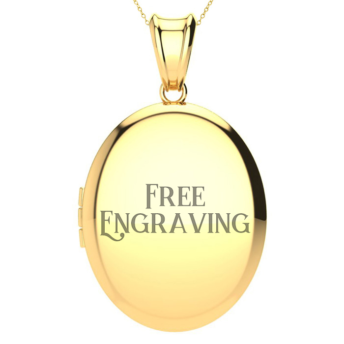 Image of 14K Yellow Gold Large Oval Double Locket With Free Custom Engraving, 18 Inches, Can Hold Up To Four Pictures!