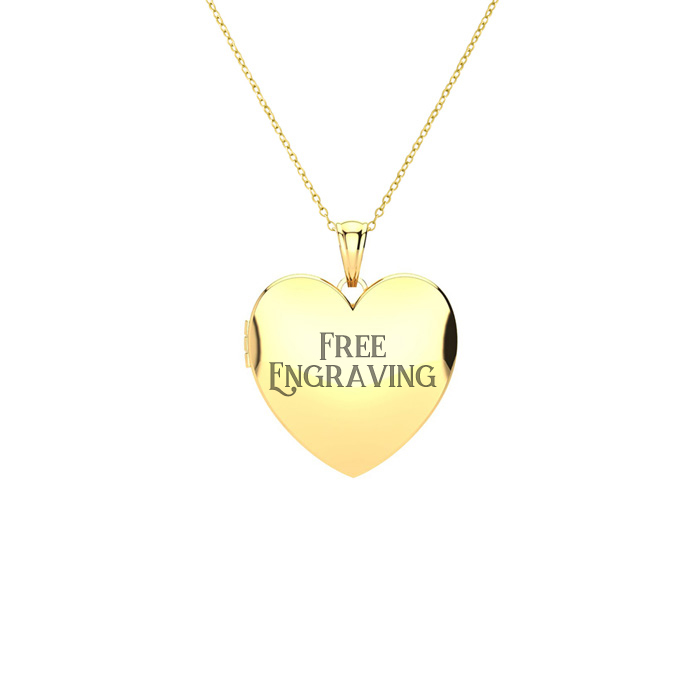 Image of 14K Yellow Gold Small Heart Locket With Free Custom Engraving, 18 Inches, Can Hold Up To Two Pictures!