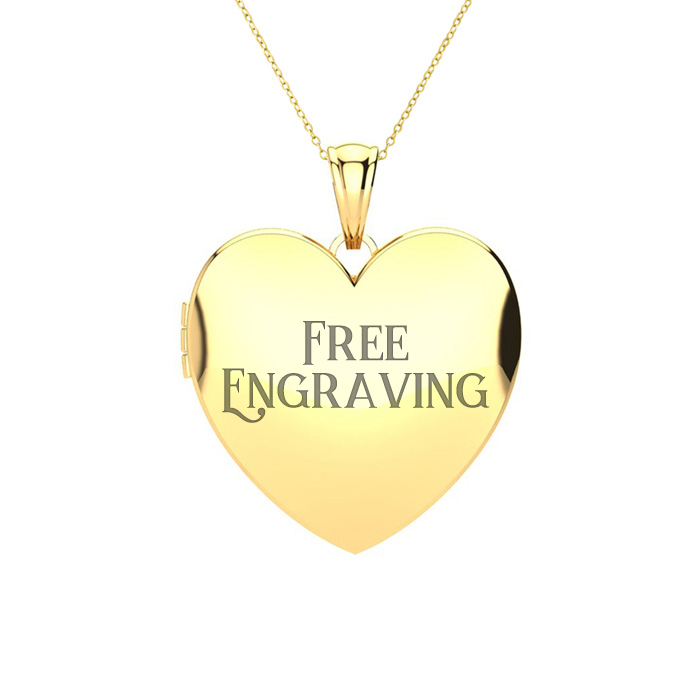 14K Yellow Gold Medium Heart Locket With Free Custom Engraving, 18 Inches, C..