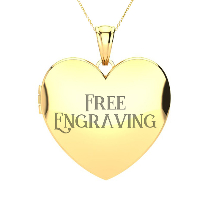 14K Yellow Gold Large Heart Locket With Free Custom Engraving, 18 Inches, Ca..