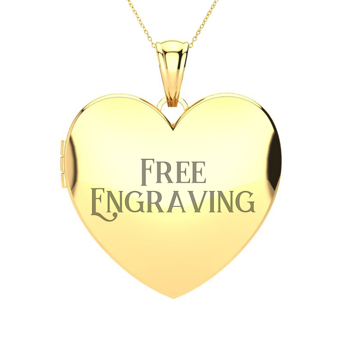 14K Yellow Gold Large Double Heart Locket With Free Custom Engraving, 18 Inc..
