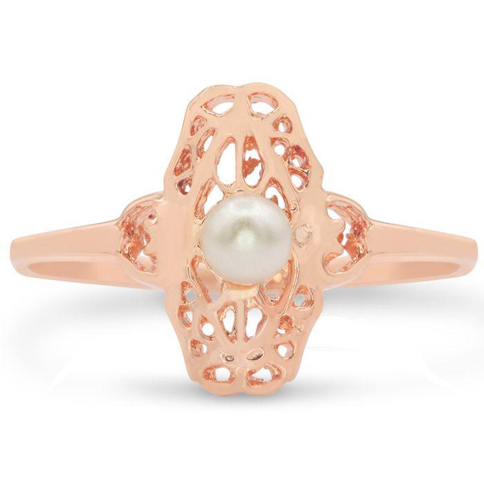 Image of Round Freshwater Cultured Pearl Vintage Ring In 14 Karat Rose Gold