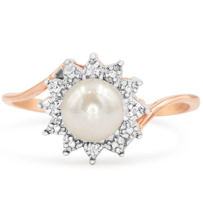Round Freshwater Cultured Pearl and Halo Diamond