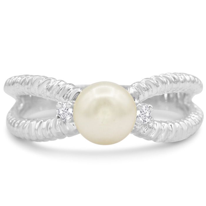 Round Freshwater Cultured Pearl and Diamond Split