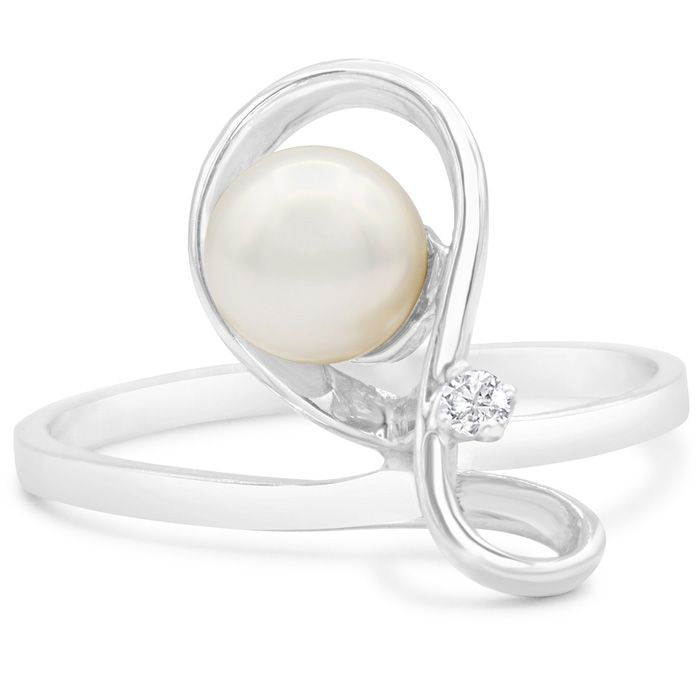 Round Freshwater Cultured Pearl and Diamond Figure