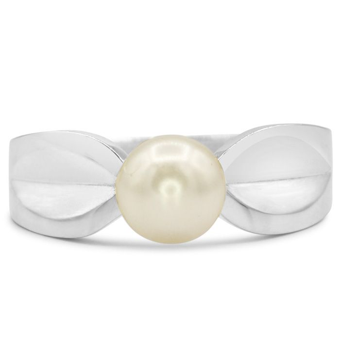 Round Freshwater Cultured Pearl Ring In 14 Karat White Gold