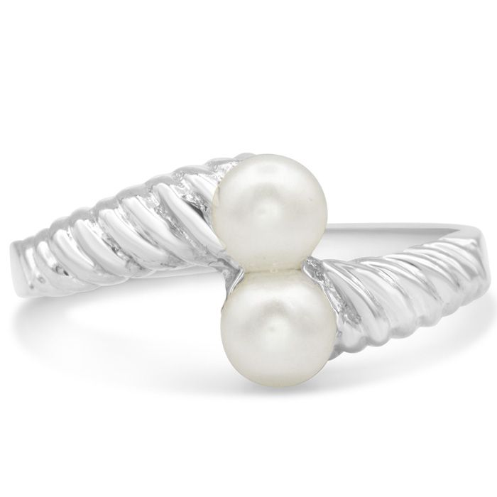 Round Freshwater Cultured Double Pearl Ring In 14 Karat White Gold