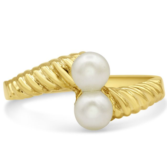 Round Freshwater Cultured Double Pearl Ring In