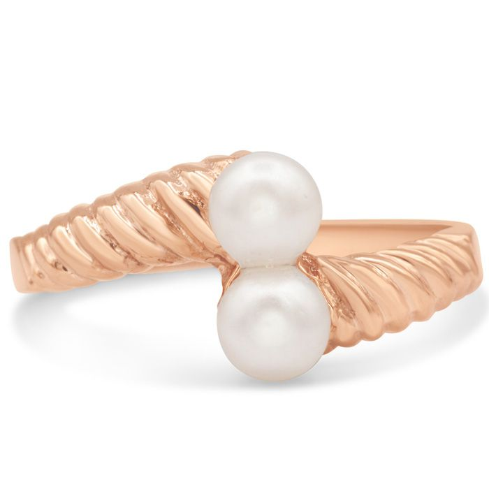 Image of Round Freshwater Cultured Double Pearl Ring In 14 Karat Rose Gold