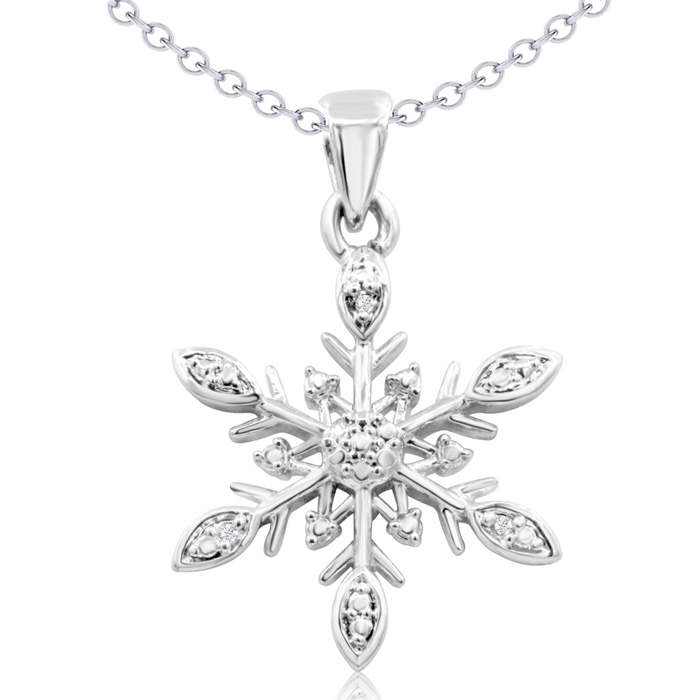 Diamond Accent Snowflake Necklace, 18 Inches. SPECIAL DEAL, BUY THE NECKLACE, GET THE EARRINGS FREE!