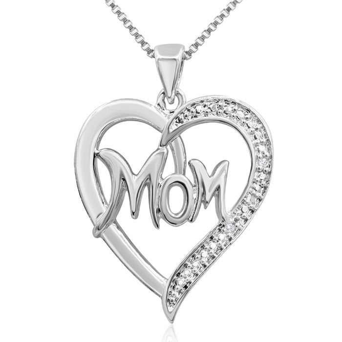 Mom Heart Necklace With Diamonds,18 Inch Chain