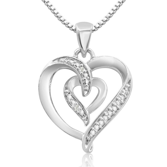 Diamond Accent Heart Necklace, 18 Inches