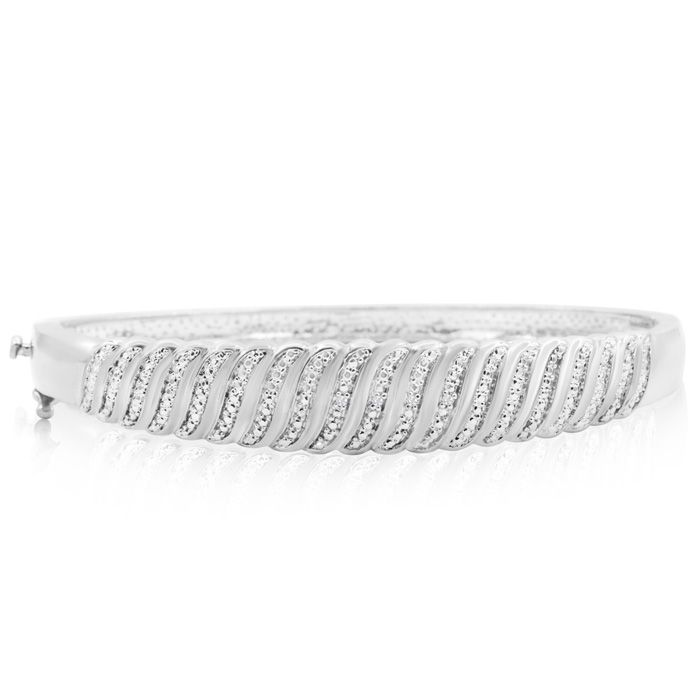 Diamond Accent Intricate Bangle Bracelet In White Gold Overlay
