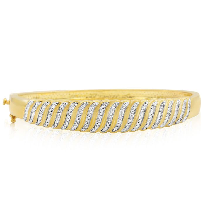 Diamond Accent Intricate Bangle Bracelet In Yellow Gold Overlay