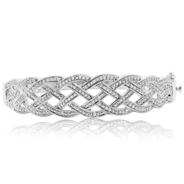 Diamond Accent Woven Bangle Bracelet In White Gold Overlay