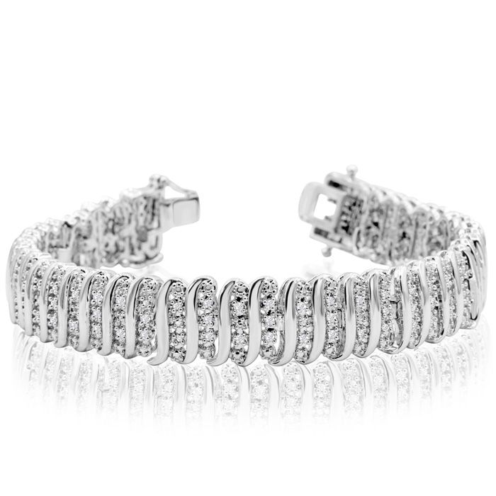 Image of 1 Carat Diamond Line Bracelet In White Gold Overlay, 7 Inches
