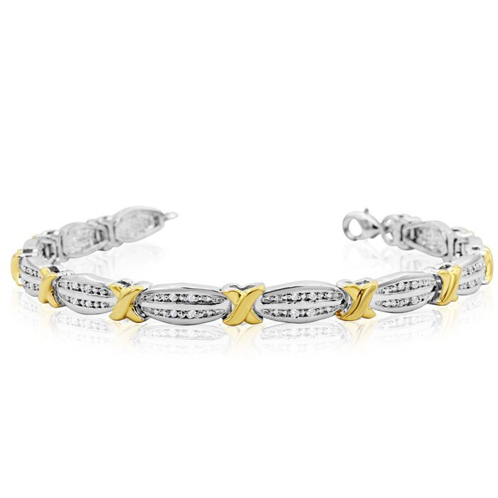 Two Tone 1/4 Carat Diamond X Tennis Bracelet, 7 Inches