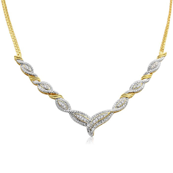 1/4 Carat Diamond Designer Necklace in Yellow Gold (18 g) Overlay, 20 Inches,  by SuperJeweler