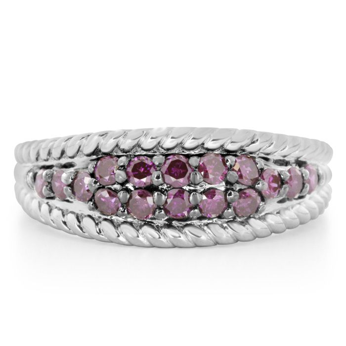 Limited Edition 1/2 Carat Purple Diamond Band Ring In Sterling Silver