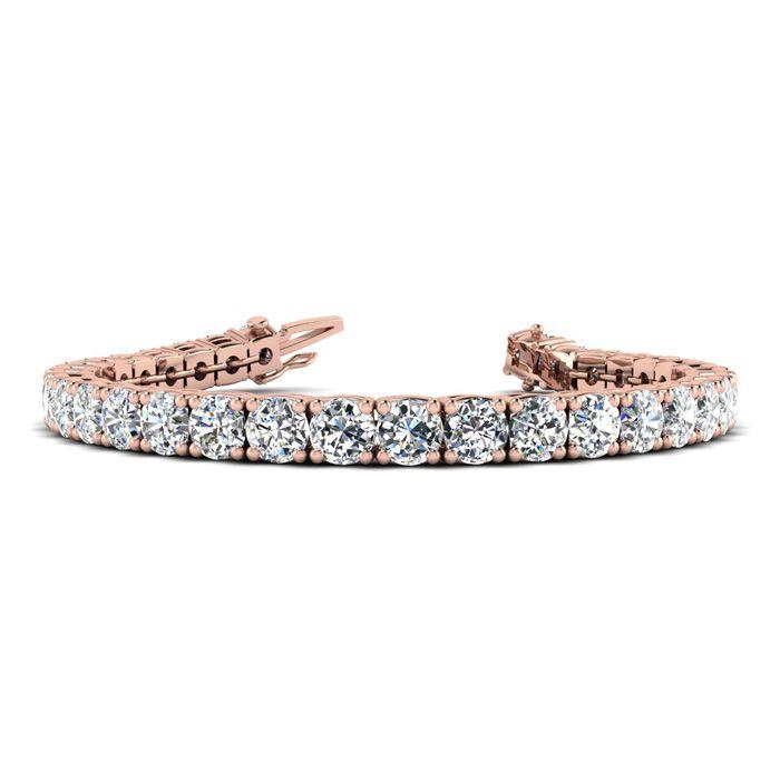 Image of 9 Inch 14K Rose Gold 14 &1/2 Carat TDW Round Diamond Tennis Bracelet (J-K, I2-I3)