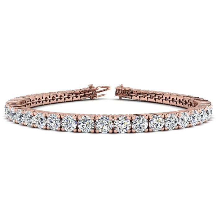 Image of 6 Inch 14K Rose Gold 8 Carat TDW Round Diamond Tennis Bracelet (J-K, I2-I3)