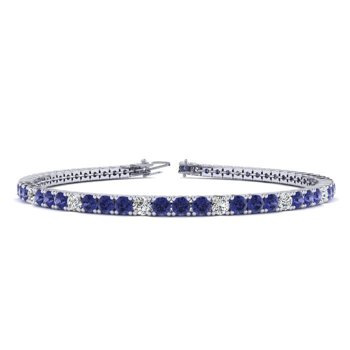 6 Inch 1 3/4 Carat Tanzanite And Diamond Alternating Tennis Bracelet In 14K White Gold 43317