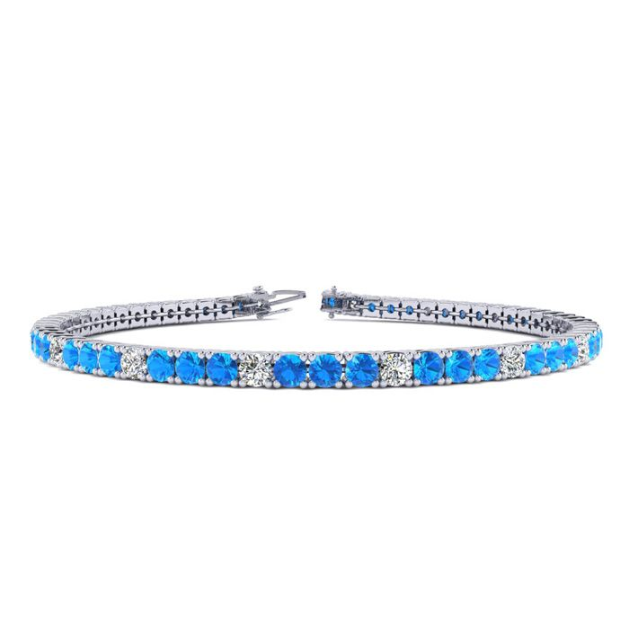 6 Inch 3 Carat Blue Topaz And Diamond Alternating Tennis Bracelet In 14K White Gold
