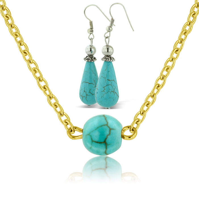 Trendy Turquoise Teardrop Earrings w/ Free Turquoise Necklace by SuperJeweler