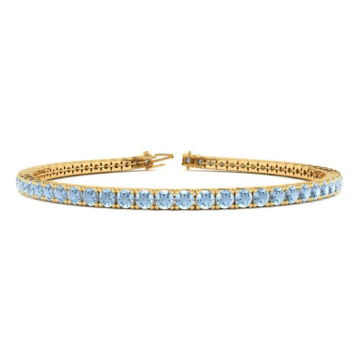 6 Inch 2 1/4 Carat Aquamarine Tennis Bracelet In 14k Yellow Gold