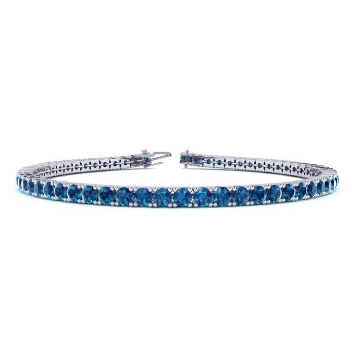 3 Carat Blue Diamond Tennis Bracelet in 14K White Gold (10.6 g)