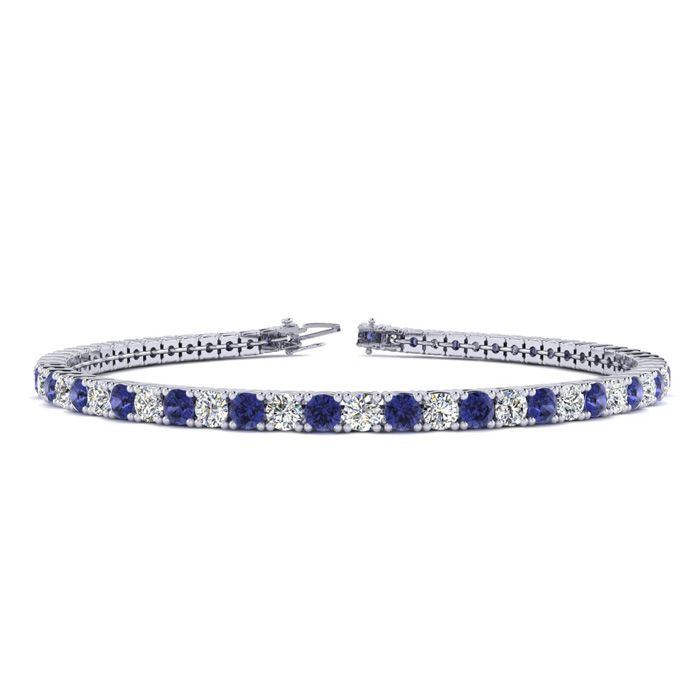 8.5 Inch 2 3/4 Carat Tanzanite And Diamond Tennis Bracelet In 14K White Gold 43687