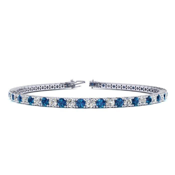 2.5 Carat Blue & White Diamond Tennis Bracelet in 14K White Gold (8.6 g)