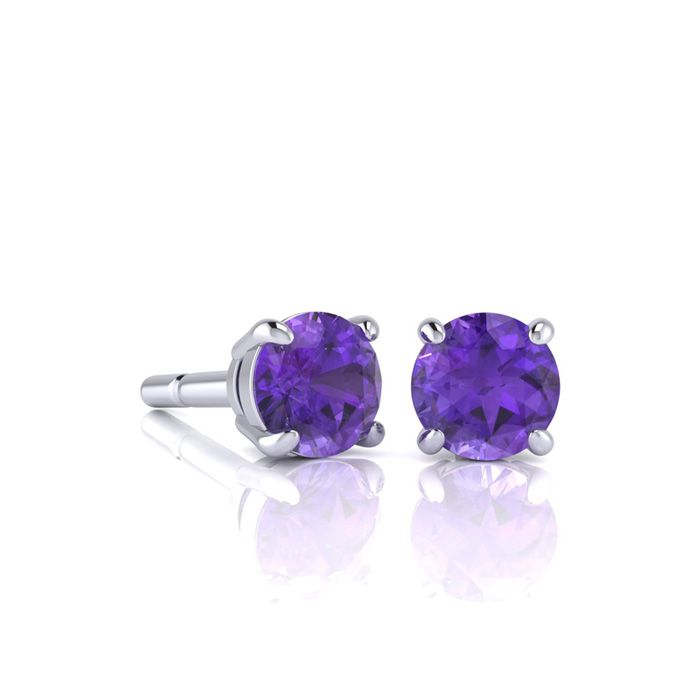 Image of 1/2 Carat Round Shape Amethyst Stud Earrings In Sterling Silver