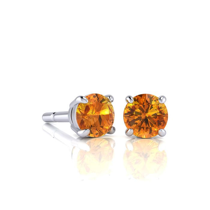 Image of 1/2 Carat Round Shape Citrine Stud Earrings In Sterling Silver