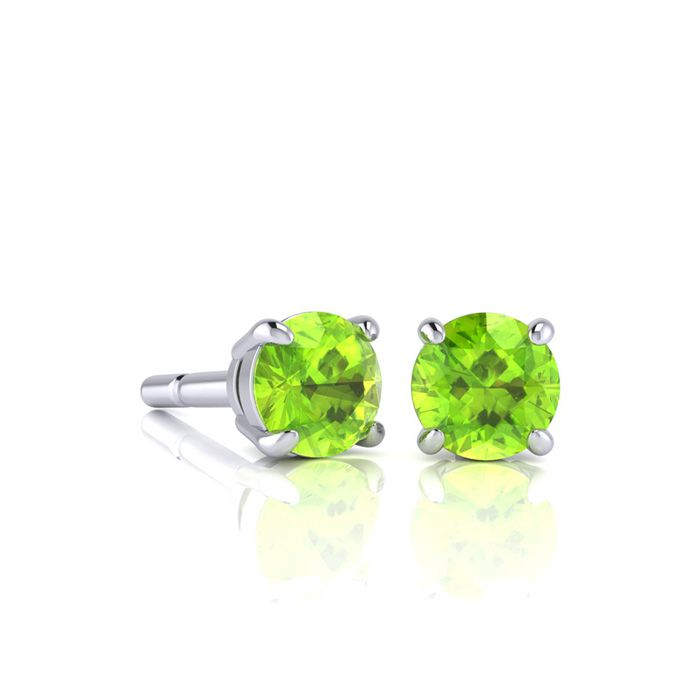 Image of 3/4 Carat Round Shape Peridot Stud Earrings In Sterling Silver