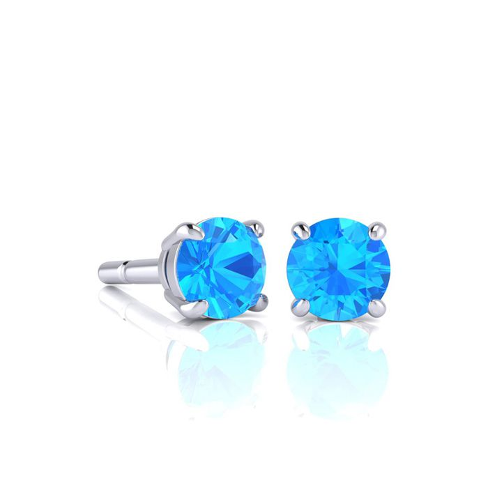 Image of 1 Carat Round Shape Blue Topaz Stud Earrings In Sterling Silver
