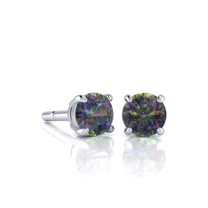 Image of 1 Carat Round Shape Mystic Topaz Stud Earrings In Sterling Silver