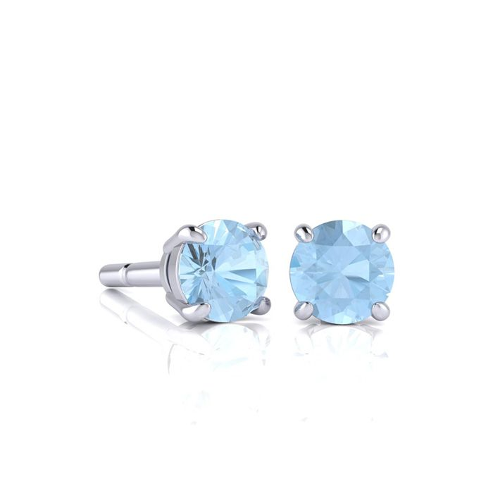 Image of 1/2 Carat Round Shape Aquamarine Stud Earrings In Sterling Silver