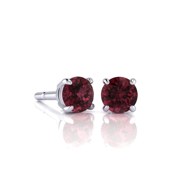 Image of 3/4 Carat Round Shape Garnet Stud Earrings In Sterling Silver
