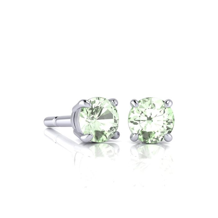 Image of 1/2 Carat Round Shape Green Amethyst Stud Earrings In Sterling Silver